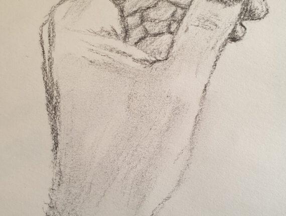 huiswerk van Corneel: teken iedere dag een hand; dit is de mijne