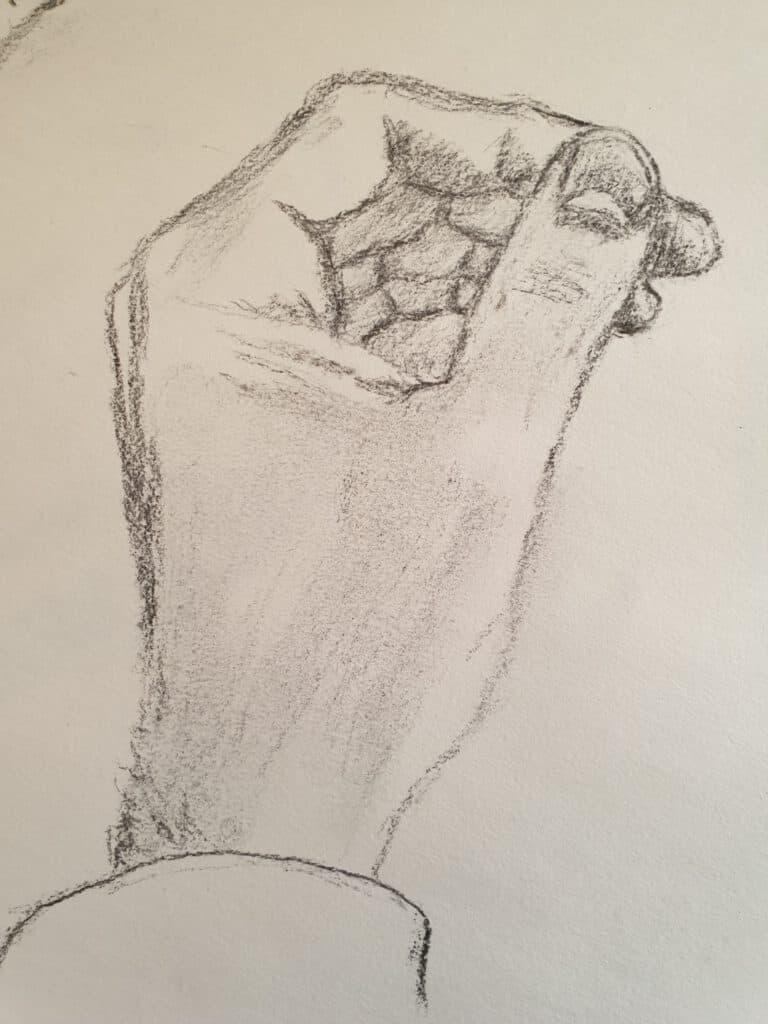 Tekening van een hand - Peter den Boer