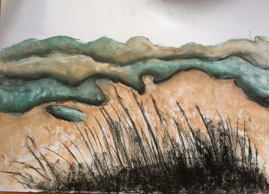 Tekening met pastelkrijt en houtskool - Els Borgesius