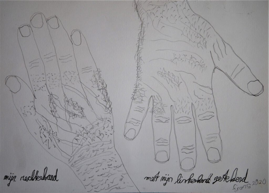 Mijn rechterhand getekend - Frans Bruning