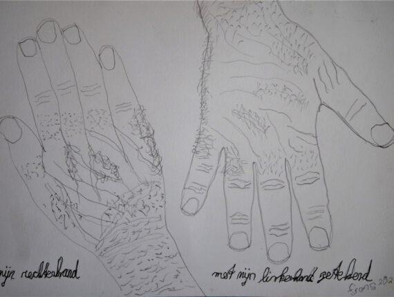 Mijn rechterhand getekend