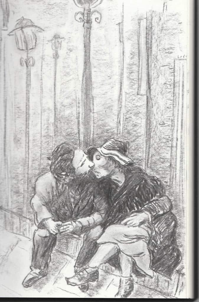 A kiss, een houtskool tekening van een stel dat kust op een bankje onder het licht van een straatlantaarn