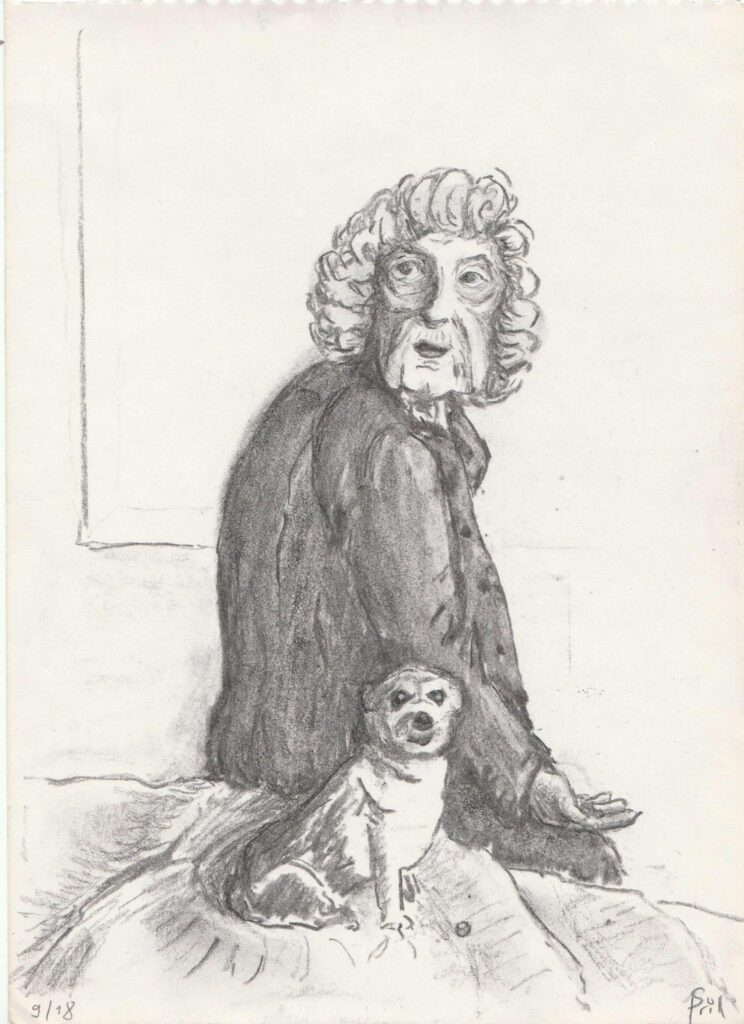 Tekening van een oma met hond door Stefani