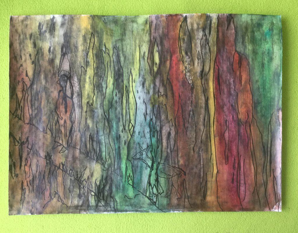 Mysterie: kunstwerk van verschillende materialen met in elkaar overlopende kleuren