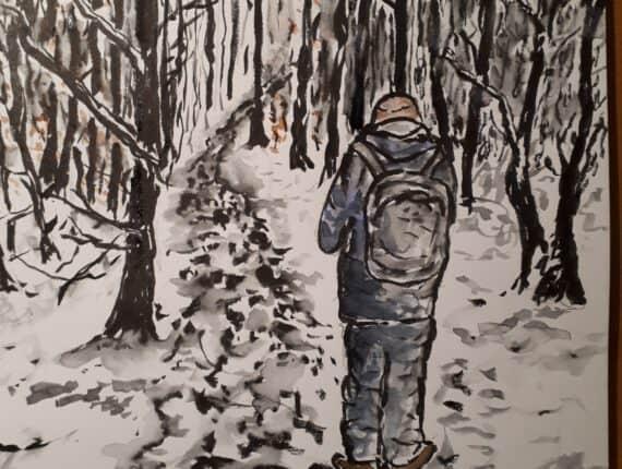 Op de rug gezien – Wandelaar in de sneeuw