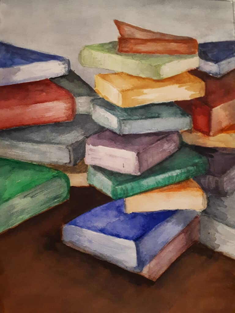 Een schilderij met meerdere stapels vrolijkgekleurde boeken door Eveline Feteris